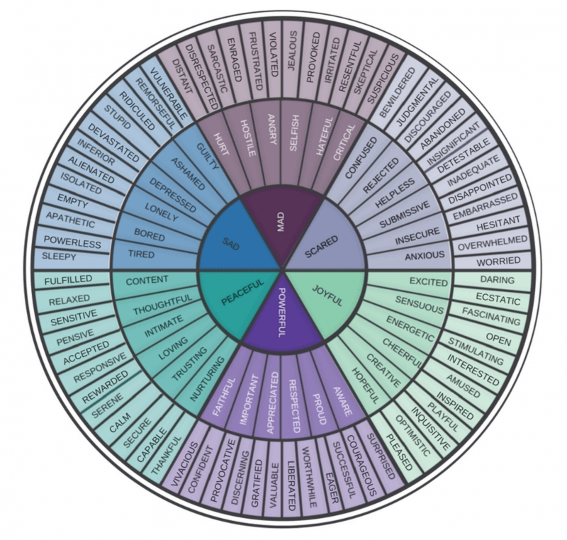 Fear-based emotions on wheel